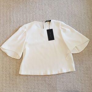 Zara White Bell Sleeve Top Size XS